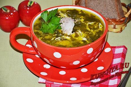 Суп из щавеля, шпината и курицы