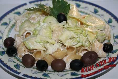 Паста с кабачками (цуккини) в сливочном соусе