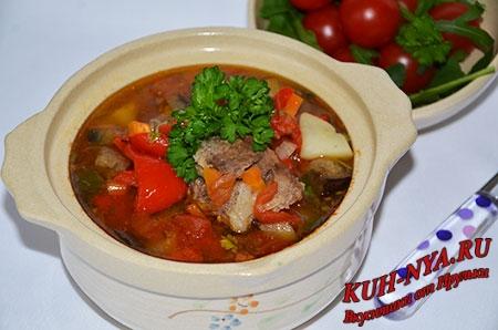 Суп из баранины с баклажанами и паприкой