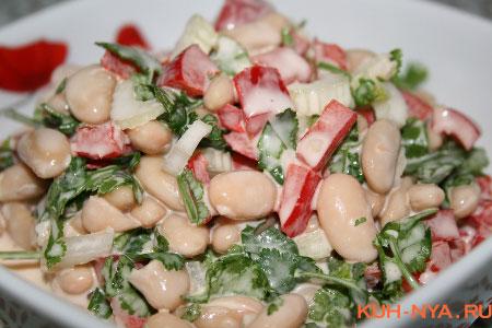 Салат с грибами фасолью болгарским перцем